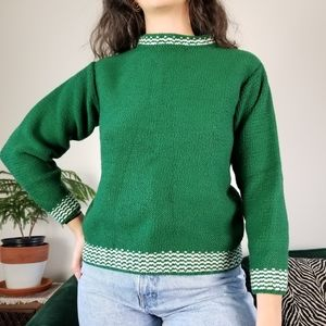 Vintage Handknit Green Sweater